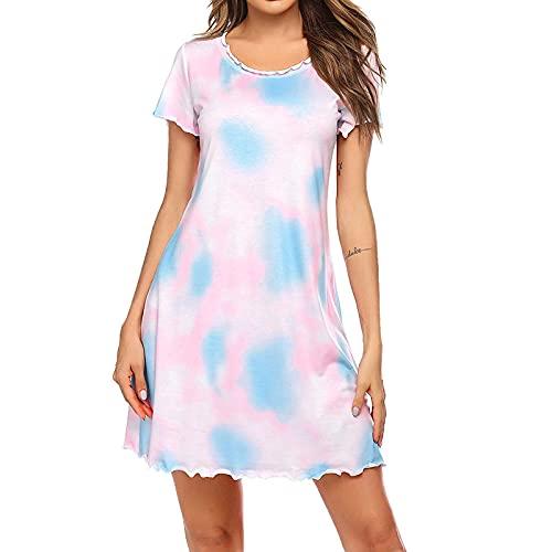 Nachthemd Pyjama Negligee Dessous Nachtwäsche Lingerie Damen Frauen Nachthemd Kurzarm Nette Nachthemden Süße Lässige Nachtwäsche Pyjama Frauen Nachthemd M Wh