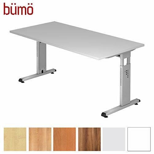 bümö® Stabiler Schreibtisch höhenverstellbar 160 x 80 cm | Bürotisch in Grau | Büroschreibtisch mit Höheneinstellung | Tisch für Büro in 9 Größen & 7 Dekoren
