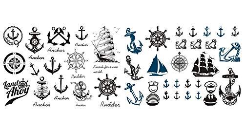 NOVAGO 2 planches de Tatouages éphémères, assortiment hasardeux, divers motif mignon (2 Planche, Marin)