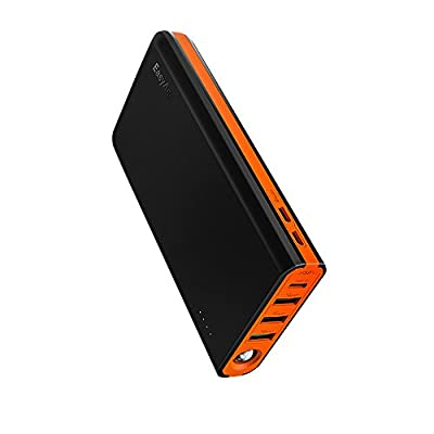 EasyAcc 20000mAh Type C Power Bank, 20000 Battery Pack with 5A Dual Input, 6A 4-Port Output, QC 3.0 Quick Charge External Portable Charger MegaCharge D20 for Mobile Phones, Tablet and More --- Black & Orange