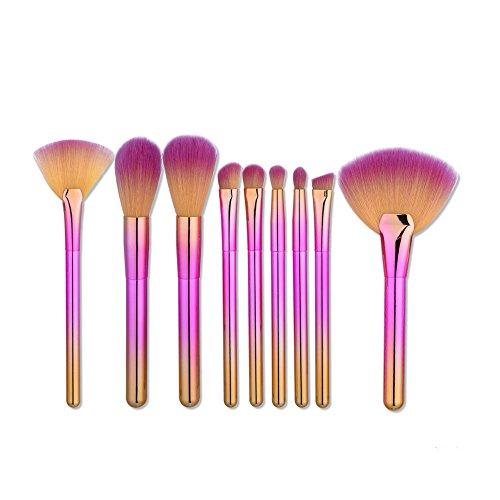 Brosse cosmétiques Maquillage gradient Brush Set Outils de maquillage Trousse de toilette en nylon brosse cosmétiques Eye brosse 9 en 1 brosse cosmétiques (Couleur : Pink+yellow)