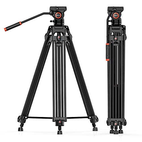 Video Tripod System, Geekoto 72 inches Heavy Duty Tripod, Professional Aluminum Twin Tube Tripod, K3 Fluid Head, Mid-Level Spreader, Max Loading 33 LB, 360 Degree Fluid Head for DSLR Camcorder Camera