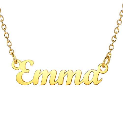 U7 Kette mit Name Emma Schlüsselbein Kette 18k vergoldet Namenskette für Damen Mädchen 45+5cm/1,5mm Kurze Halskette einzigartige Modeschmuck für Geburtstag Valentinstag