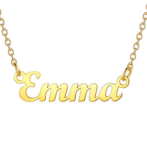 U7 Best Friend Necklace Name Emma Pendant & Resizable 45CM Rolo Chain, Script MT Blood Font, Present for Women, 18K Gold Plated Stainless Steel Nameplate Jewellery Emma Chain Girls BFF Necklace Gold