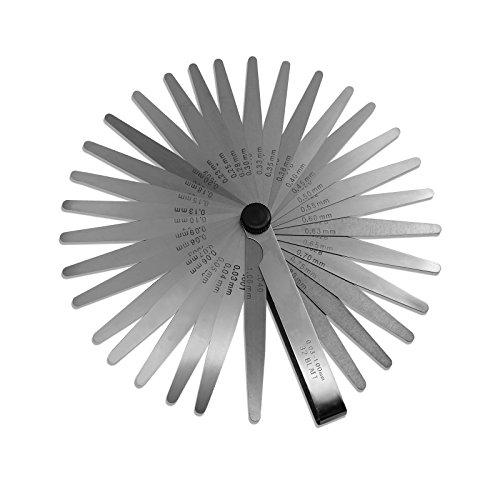 Spurtar 32枚 ステンレス シックネスゲージ 隙間ゲージ 隙間測定に 厚さ 薄さ 測り (0.03mm - 1mm)