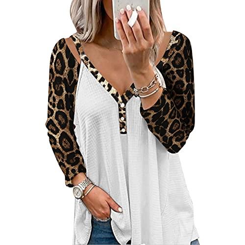 YANFANG Top Estampado De Leopardo Costura Cuello En V,Blusa Suelta Retazos Moda,Ropa Personalizada Talla Grande,Ropa Holgada Sin Forro Calle Europa, Primavera Y OtoñO,Blanco,XL