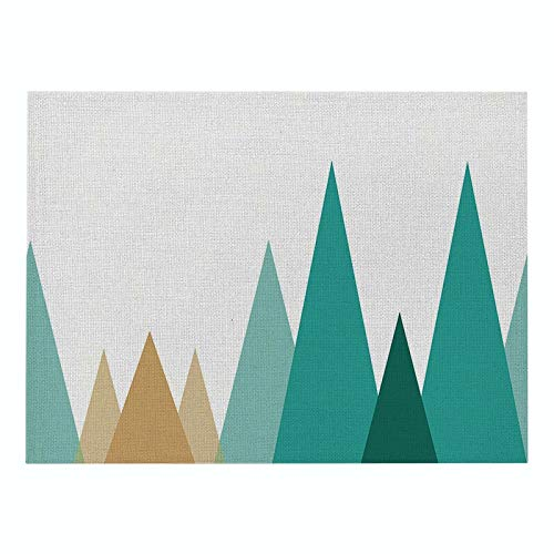 Z-LIANG Geometric Patterns Simple Style Distinctive Placemat Table Napkin Dining Table Mat Bowls Drink Coasters Kitchen Accessories Decoration (Color : CD011 2, Size : Polyester Hemp)