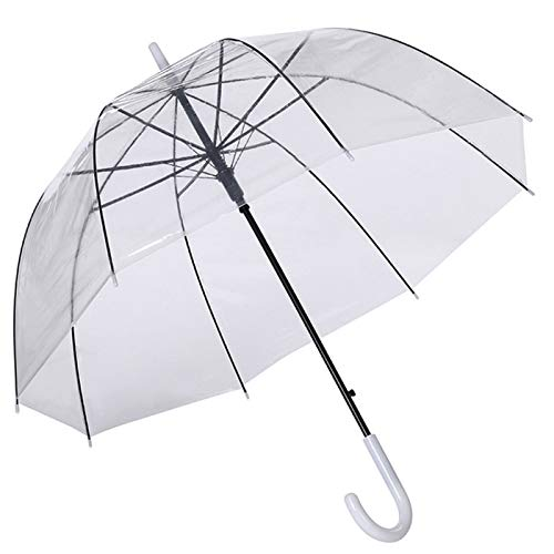 Paraguas Transparente Cúpula Automático Mujer. Paraguas Burbuja Infantil, Paraguas Original Largo, Niño y Niña, Paraguas Novia 82cm