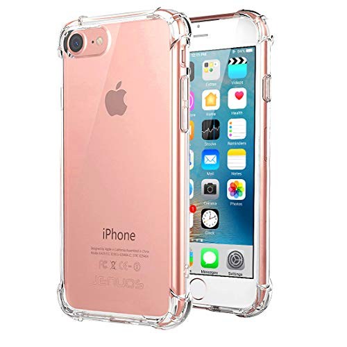 Jenuos Funda iPhone SE 2020, Funda iPhone 7, Funda iPhone 8, Transparente Suave Silicona Protector TPU Anti-Arañazos Carcasa Cristal Caso Cover para Apple iPhone 7/8 - Transparente (7G-TPU-CL)