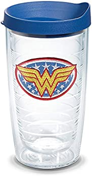 Tervis 1084001 Wonder Woman Tumbler with Emblem and Blue Lid 16oz Clear