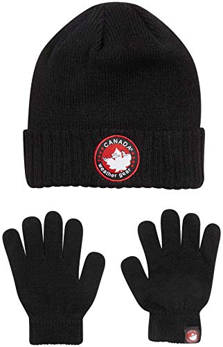 'CANADA WEATHER GEAR Boys' Winter Beanie Hat and Gloves Set, Size 8-18, Black Beanie with Logo'