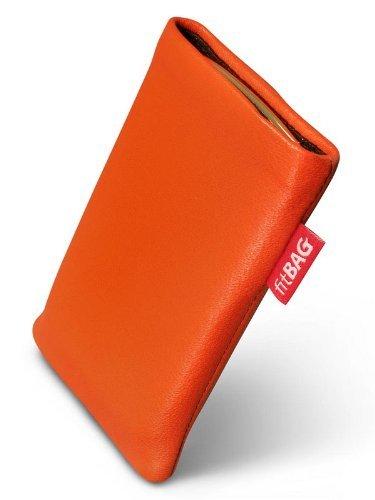 fitBAG Beat Orange Handytasche Tasche aus Echtleder Nappa mit Microfaserinnenfutter für ASUS M930