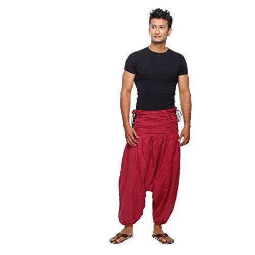 Simandra Haremshose Pumphose Aladinhose Pluderhose Yoga Goa Sarouel Baggy Freizeithose Schnürung Jaya Herren (Rot, L/XL)