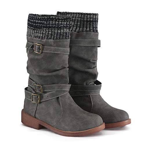 acction Botas Altas Invierno Mujer, Botas de Nieve Ancha Hebilla Zapatos Mujer Cuña Planos Sintética Peluche Jinete Bajo Cómodos Peludas Calentitas 2019 Negro Blanco Caqui