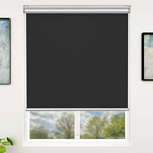 iKinlo - Tenda a rullo oscurante, 80 x 180 cm, colore nero, senza fili, con chiusura laterale a morsetto, 100% ombreggiatura