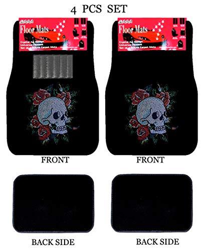 ALLBrand Universal Fit Front/Rear 4-Piece Full Set Crystal Bling Rhinestone Studded Carpet Car SUV Truck Floor Mats (Happy Skull/Black)