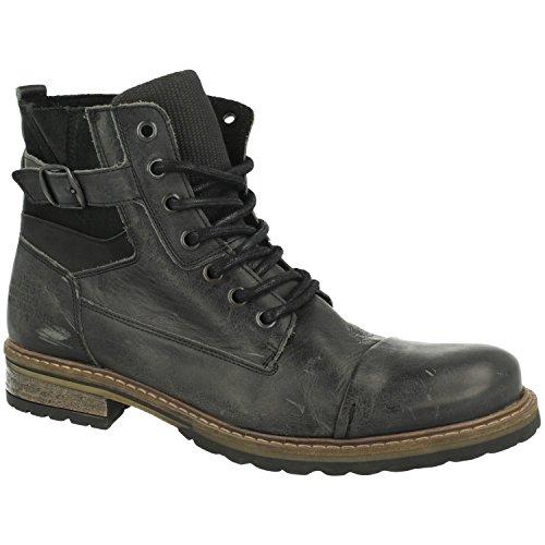 BULLBOXER Herren Stiefel 285K84158,Männer Boots,Lederstiefel,Schnürstiefel,Combat,Chukka,Blockabsatz,Grey,EU 45