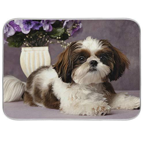 Tapis de séchage à vaisselle Microfibre de comptoirs de cuisine Protecteur de coussin sec 16 x 18 pouces Le chien couché sur le ventre