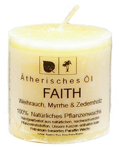 Heaven Scent Natur Kerz 5 x 5 cm Faith aus Pflanzenwachs, beduftet mit ätherischem Öl von Weihrauch, Myhrre & Zendernholz, ungebleichter Docht