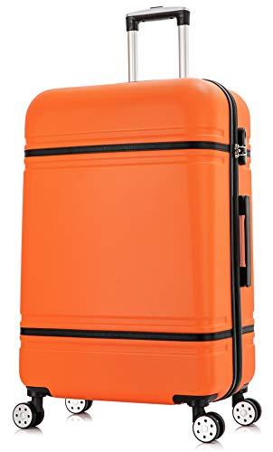 DK Luggage Lightweight ABS-147 Hard Shell Medium M 24' Suitcase 4 Wheel Spinner Orange