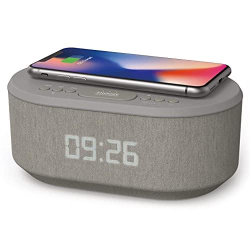 Radiowekker Wekker Digitaal voor Draadloze Oplader, Wekkerradio Digitale met Bluetooth, USB-oplader, Dimbaar LED Display en Dual Alarm, Alarm Clock (Grijs)(Grijs)