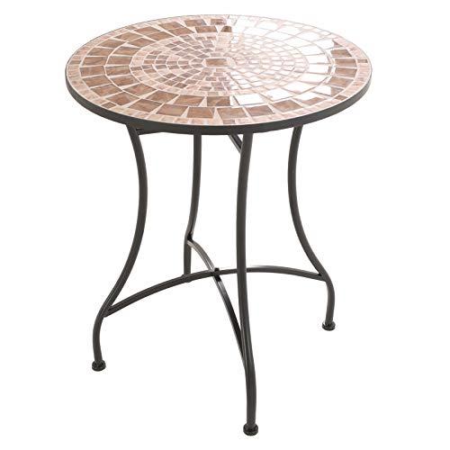 MACOShopde by MACO Möbel Mosaik Gartentisch Mosaiktisch Xia rund ø 60 Balkon/Terrassen-Tisch mit einzigartigem Muster Mehrfarbig Stahl