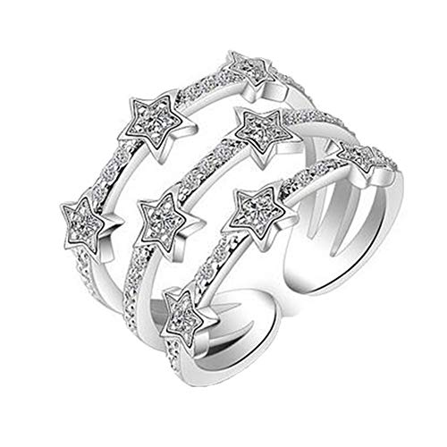Boowhol - Anillo de plata fina 925 y circonio elegante, tres capas agradables, diseño de estrella