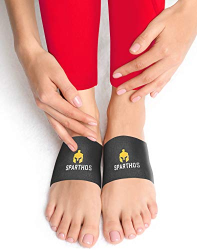 Sparthos Arch Support Sleeve - Plantar Fasciitis Compression Bands - Foot Arch Supports Sleeves, Womens Mens Shoes Socks Strutz - Planter Plantars Fascitis Faciatis - for Men and Women (Black-M)