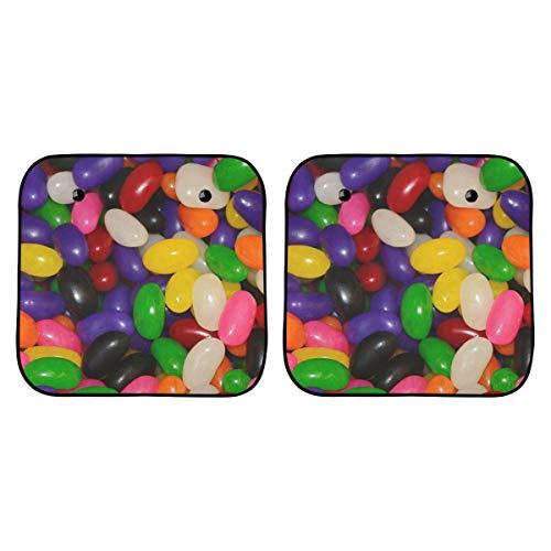 Parasol para Coche para Mujer Jelly Beans Caramelo Azúcar Dulces Verde Púrpura Rojo Parasol Divertido para Parabrisas de Coche Plegable 2 Piezas para la mayoría de los vehículos Deportivos utilitario