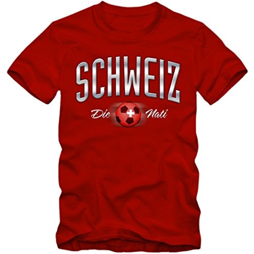 Herren Fußball T-Shirt Schweiz Suisse Nati Soccer Football EM Trikot, Farbe:rot;Größe:XXXL