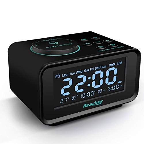Radiowecker,REACHER FM Digitaler Wecker mit USB-Anschlüssen,Dual-Alarm,6 Wecker Geräusche,Dimmerfunktion,Schlummerfunktion, Thermometer Anzeige, kleine Größe für Schlafzimmer (Schwarz)