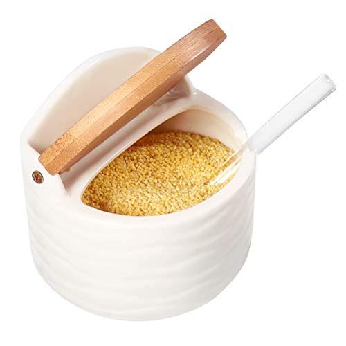 77L Zuccheriera, 250 ML (8.52 FL OZ) Zuccheriera con Cucchiaino da Zucchero e Coperchio in Bambù per Casa e Cucina, Servire per zucchero, sale, spezie e altro, Bianco