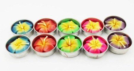 BVI Flower Candle in Tea Lights, Aromatherapy Relax (Pack of 10 Pcs.)