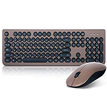 ABKO Brown Pearl Wireless Membrane Keyboard + Mouse Set Korean/English Keyboard Gift for Laptop PC Girls Boys Adult Christmas Birthday Gift for Smartphone Tablet PC Product of Korea