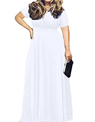 POSESHE Women's Solid V-Neck Short Sleeve Plus Size Evening Party Maxi Dress White 3X-Large
