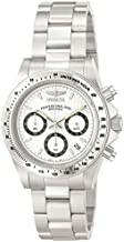 Invicta Men's Speedway 39.5mm Stainless Steel Chronograph Quartz Watch, Silver/White (Model: 9211)