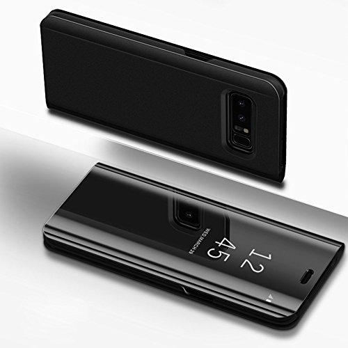Samsung Galaxy S7Tasche, ikasefu PU Leder galvanisiert Vergoldung Ständer PC Spiegel Flip Folio Schutz Cover Ultra Slim Dünn Full Body Schutzhülle für Samsung Galaxy S7 schwarz