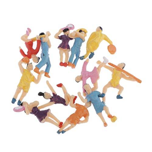 Hellery 12er Set Sport Modellbahn Sportfiguren Actionfiguren Modell Menschen Figuren Ideal für Sand Tisch Display, Micro-Szenen DIY
