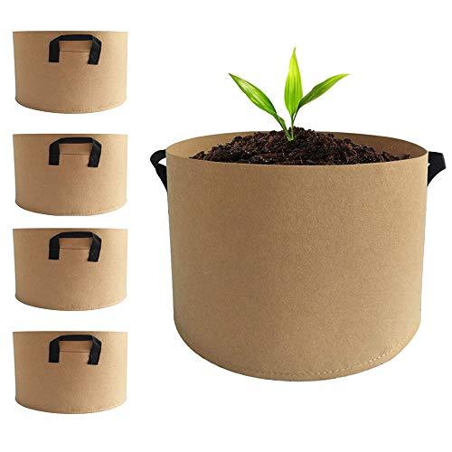 Beansfun 大型 不織布プランター 37L 大容量 野菜 布鉢 植木鉢 植え袋 鉢 フェルト 横型 5個 10ガロン 30高x40直径