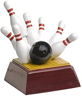 Decade Awards Bowling Pins Trophy, Small - Strike Award - 4 Inch Tall - Engraved Plate on Request