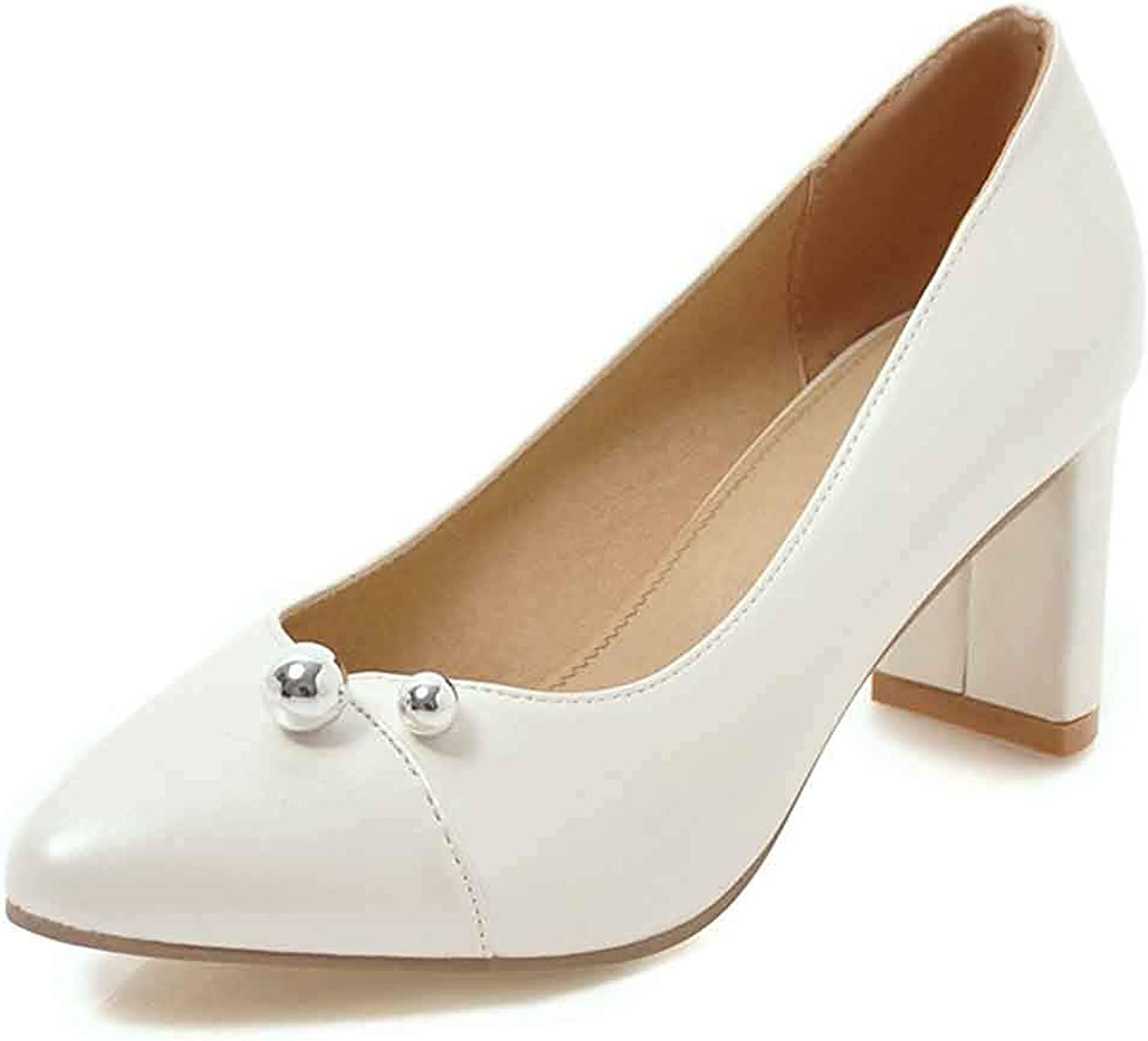 Unm Women's Sexy Pumps shoes with Beads - Simple Middle Block Heels - Trendy Pointed Toe Slip On Low Cut