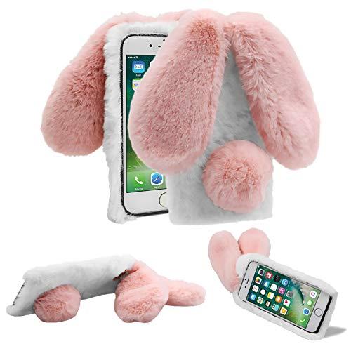 für Samsung Galaxy S20 FE Plüsch Hülle Niedlich Faux Flauschige Hase Ohren Handyhülle Weiche Warm Bunny Pelz Stoßfest TPU Silikon Schutzhülle mit Glitzer Diamant YiCTe Weiß & Pink