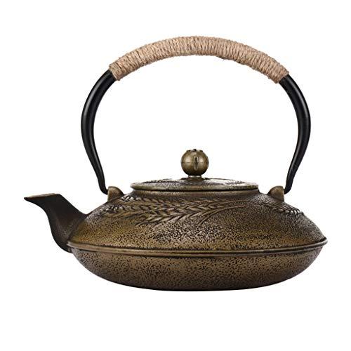HQQ Caldera de té Tetsubin de Bronce, Tetera de Hierro Fundido, 1.2 litros (tamaño de 4 Tazas), patrón de Trigo