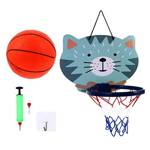 FAVOMOTO Mini pelota de baloncesto sobre la puerta para niños, montaje en la pared, inflador de baloncesto, bomba de baloncesto, juguete deportivo para niños, juguete para niños, gato