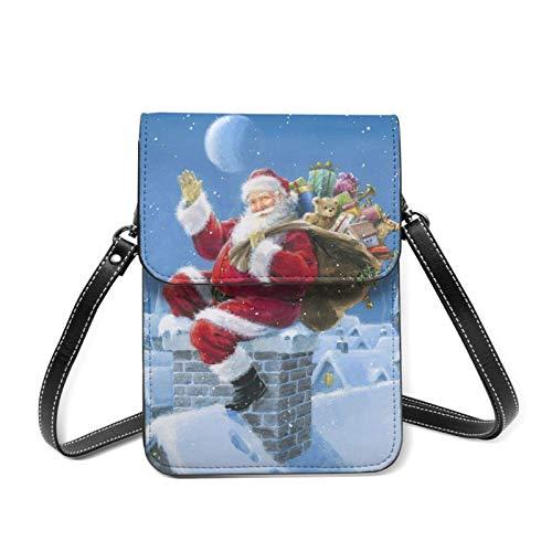 Kleine Handy-Tasche mit verstellbarem Riemen, aus Leder, für Weihnachten, Schornstein, Weihnachtsmann, Wintergeschenke, Umhängetasche, Kartenhalter, Geldbörse mit verstellbarem Riemen