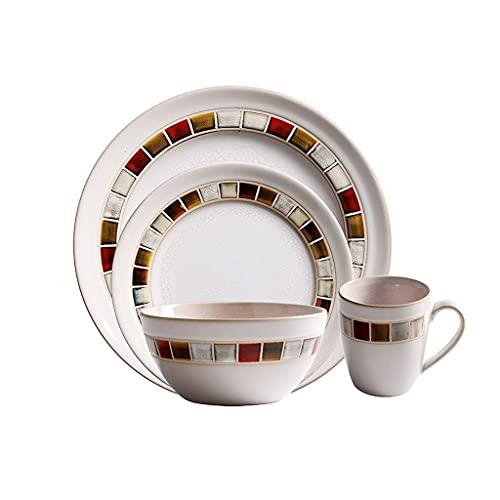 yunyu 4 Juegos de Taza de café Europea de cerámica, Taza para Beber de Gran Capacidad para el hogar, Apta para lavavajillas  Apto para microondas, Plato Grande, Plato pequeño, tazón, Taza de café