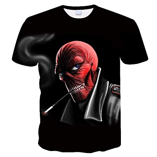 WAPDRY Black Unisex T-Shirt,Novel 3D Smoking Red Skull Man Summer Short Sleeve,Personalized Sports Singlet,Soft Breathable Top-S