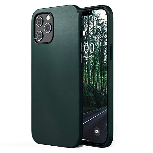 SURPHY Faux Leather Case Compatible with iPhone 12 Pro Max Case 6.7 inches, Premium Faux Leather Case Cover (with Metallic Buttons & Microfiber Lining) Compatible with iPhone 12 Pro Max (Forest Green)
