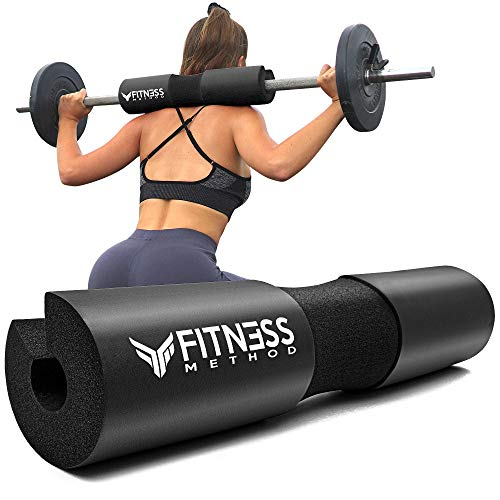 Fitness Method® 2021 Upgraded Langhantel Polster für Hip Thrust & Kniebeugen Barbell Pad +Booty Guide+ Klettverschluss, Nackenpolster