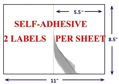 Half Sheet Self Adhesive Shipping Labels for Laser and Inkjet Printers (600 Labels, Pack of 3) Photo #3